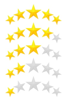 Pięć gwiazdek. różne stopnie od jednej do pięciu gwiazdek. złote tłoczone i szare przezroczyste gwiazdy.