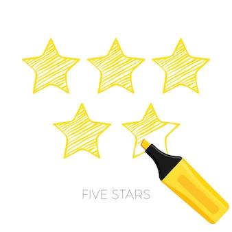 Pięć gwiazdek w stylu szkicu plakatu. ranking najlepszych pozycji od klientów i klientów. pozytywne opinie, nagroda za usługę