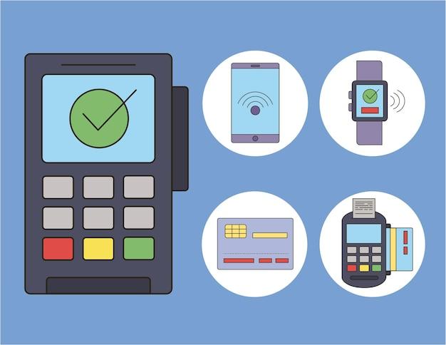 Pięć ikon zestawu płatności zbliżeniowych