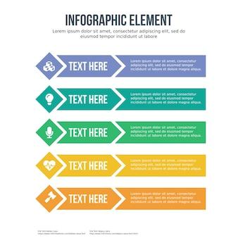 Pięć ikonowy element infographic szablon