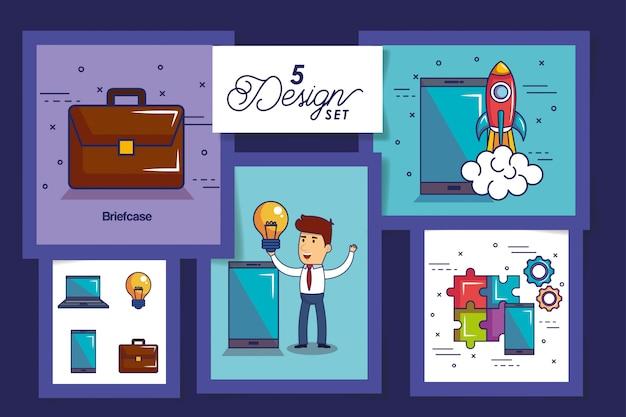 Pięć kart początkowych ikon biznesowych