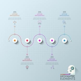 Pięć kół zorganizowanych w poziomą linię i połączonych ikonami, polami tekstowymi i oznaczeniem roku. koncepcja pięciu kamieni milowych rozwoju firmy.