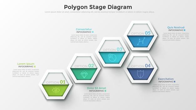 Pięć kolorowych oddzielnych sześciokątnych elementów z cienkimi symbolami linii i cyframi w środku. koncepcja diagramu etapowego wielokąta. szablon projektu nowoczesny plansza. do prezentacji, raportu.