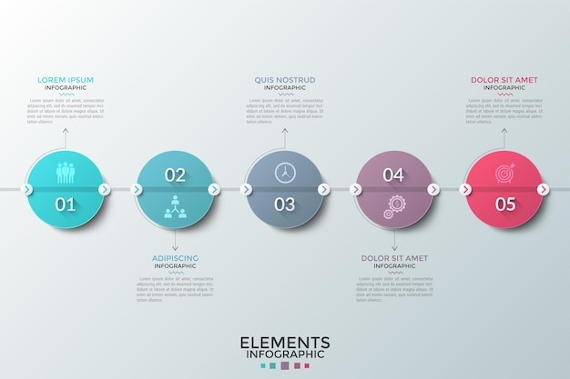 Pięć kolorowych okrągłych elementów z cyframi i płaskimi ikonami w środku umieszczonych w poziomej linii i kolejno połączonych. koncepcja 5 etapów rozwoju. plansza projekt układu.