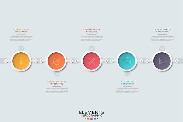 Pięć kolorowych okrągłych elementów z liniowymi symbolami i liczbami ułożonymi w poziomy rząd lub oś czasu. koncepcja 5 kolejnych etapów rozwoju. szablon projektu plansza.