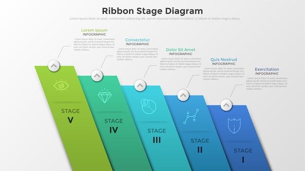 Pięć kolorowych, pochyłych prostokątnych elementów z liniowymi symbolami i cyframi w środku, połączonych z polami tekstowymi. koncepcja diagramu etapu wstążki. niezwykły szablon projektu plansza.