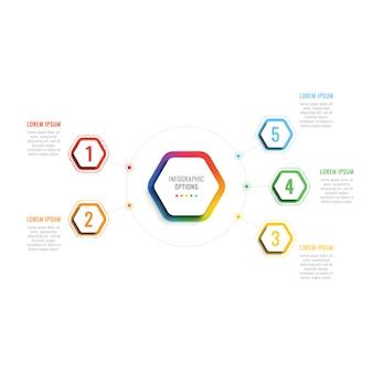 Pięć kroków 3d infographic szablon z sześciokątnymi elementami. szablon procesu biznesowego z opcjami broszury, schematu, przepływu pracy, osi czasu, projektowania stron internetowych