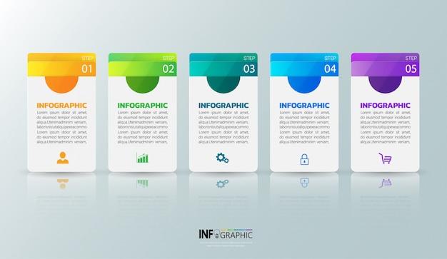 Pięć kroków infografiki szablon