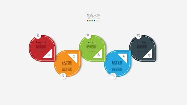 Pięć kroków infografiki z kolorowymi strzałkami