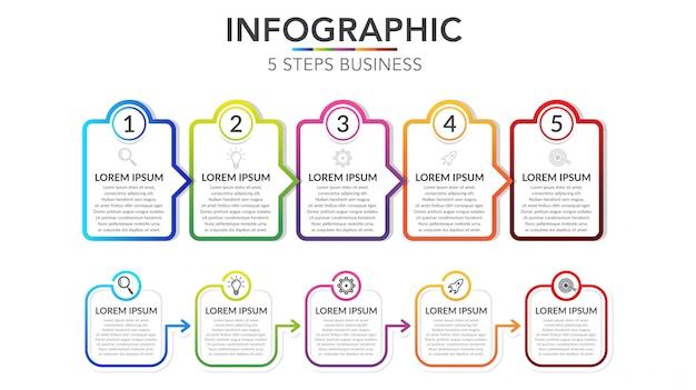 Pięć kroków infographic szablon