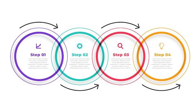 Pięć kroków kierunkowy okrągły szablon infografiki