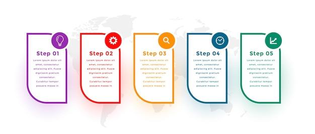 Pięć kroków nowoczesny projekt szablonu infografiki