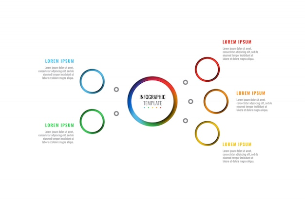 Pięć kroków projektowania układu plansza szablon z okrągłymi 3d realistyczne elementy cięcia peper.