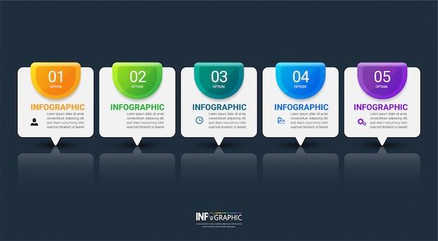 Pięć kroków szablon infografiki