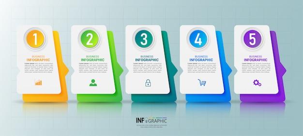 Pięć kroków szablon projektu infografiki osi czasu.