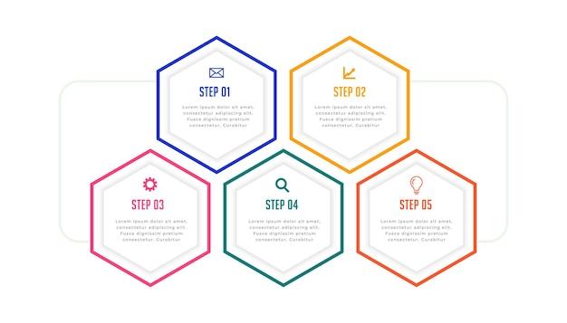 Pięć kroków sześciokątna linia infografika szablon