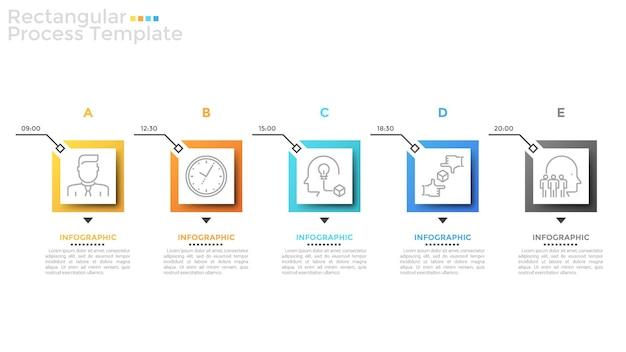 Pięć kwadratowych elementów z cienkimi symbolami liniowymi wewnątrz i wskazaniem czasu ułożonych w poziomym rzędzie. koncepcja planu dnia lub harmonogramu z 5 krokami. szablon projektu plansza. ilustracja wektorowa.