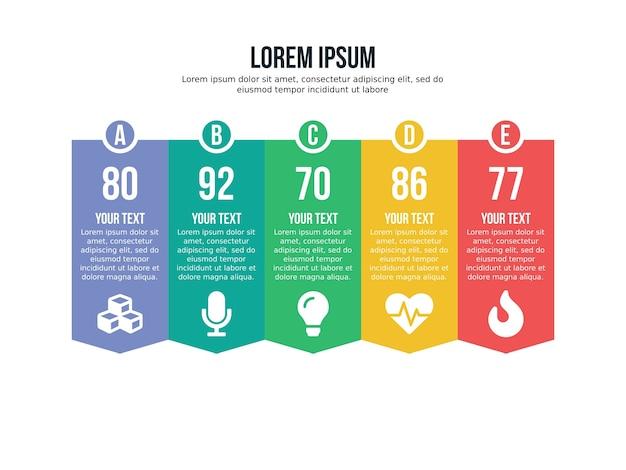 Pięć listy element infographic i szablon prezentacji