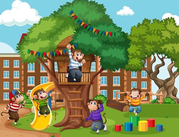 Pięć małych małpek skaczących na placu zabaw w parku