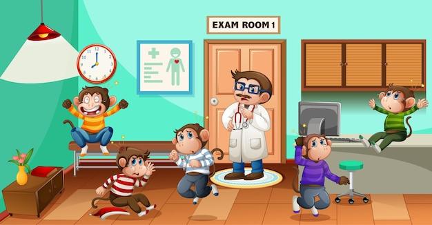 Pięć małych małpek skaczących w szpitalu z lekarzem