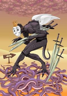 Pięć mieczy, ilustracja karty tarota
