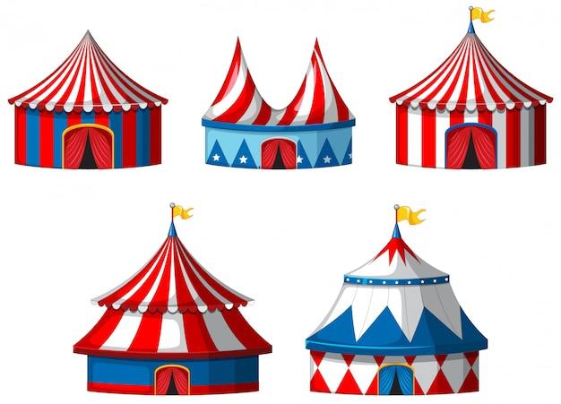 Pięć namiotów cyrkowych na białym tle