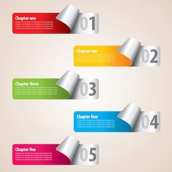 Pięć nowoczesnych kolorowych pasków