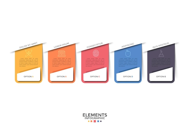 Pięć oddzielnych kolorowych prostokątnych elementów z liniowymi ikonami i miejscem na tekst w środku. koncepcja rozwijanego menu internetowego z 5 opcjami. szablon projektu plansza. ilustracja wektorowa na stronie internetowej.