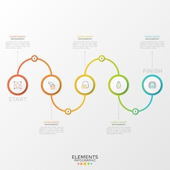 Pięć okrągłych białych elementów z liniowymi symbolami wewnątrz połączonych gradientową kolorową krzywą. koncepcja 5 kroków procesu biznesowego. szablon projektu nowoczesny plansza. ilustracja wektorowa.