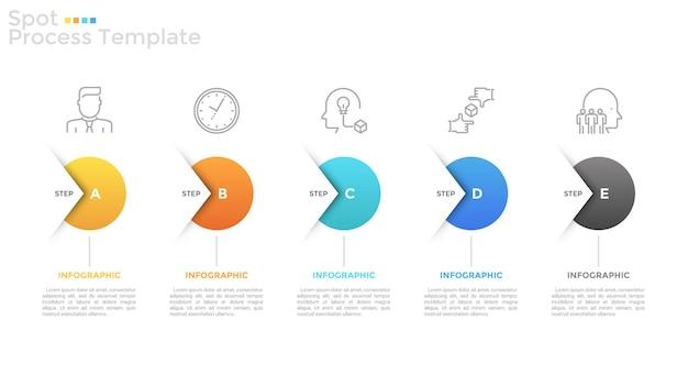 Pięć okrągłych elementów, cienkich ikon linii i pól tekstowych ułożonych w poziomy rząd i połączonych strzałkami. koncepcja 5 kroków strategii rozwoju. szablon projektu plansza. ilustracja wektorowa.