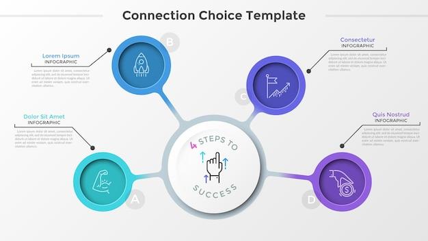 Pięć okrągłych elementów z ikonami cienkiej linii w środku, połączonych z centralnym białym kółkiem z papieru. schemat strategii biznesowej z 4 krokami lub opcjami. układ kreatywny plansza. ilustracja wektorowa.