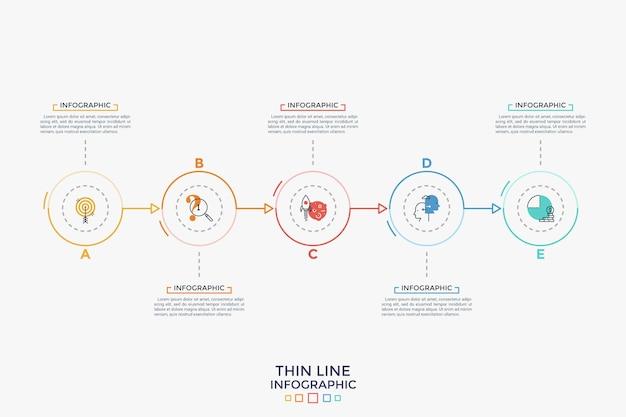 Pięć okrągłych elementów z liniowymi symbolami wewnątrz umieszczonych w poziomym rzędzie i połączonych strzałkami. koncepcja 5 kroków rozwoju biznesu. prosty szablon projektu plansza. ilustracja wektorowa.
