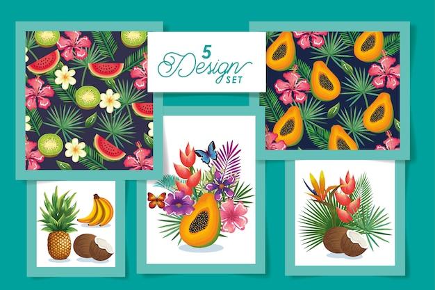 Pięć owoców z kwiatami i liśćmi tropików