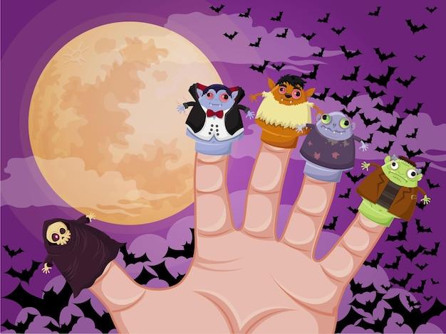 Pięć palców potwory halloween wektor