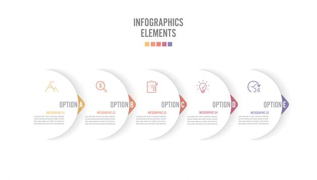 Pięć papierowych białych nakładających się strzałek umieszczonych w poziomym rzędzie. koncepcja 5 kolejnych. dla treści, diagramu, schematu blokowego, kroków, części, infografiki osi czasu, układu przepływu pracy, wykresu.