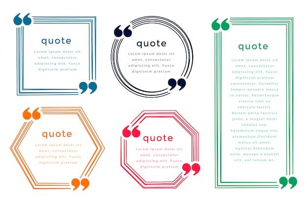 Pięć pól styl cytat szablon projektu