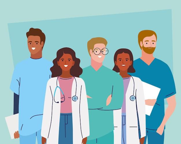 Pięć postaci personelu medycznego