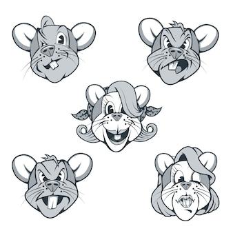 Pięć postaci szczurów w stylu kreskówek z różnymi wyrazami twarzy.