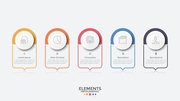 Pięć prostokątnych elementów ze wskaźnikami lub dymkami ułożonymi w poziomym rzędzie. szablon projektu plansza. koncept 5 opcji biznesowych do wyboru. ilustracja wektorowa do prezentacji.