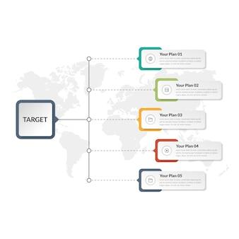 Pięć punktów infographic element strategii biznesowej z ikonami