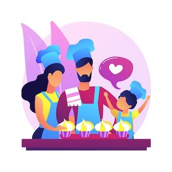 Piec razem streszczenie ilustracja koncepcja. rodzinna zabawa podczas kwarantanny, pomysły na domowe zajęcia, wspólne spędzanie czasu, dorośli pieczenie z dziećmi.