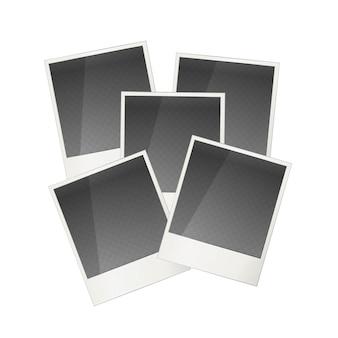 Pięć realistycznych polaroid ramka na białym tle