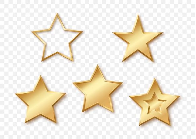 Pięć różnych błyszczących złotych gwiazd na białym tle