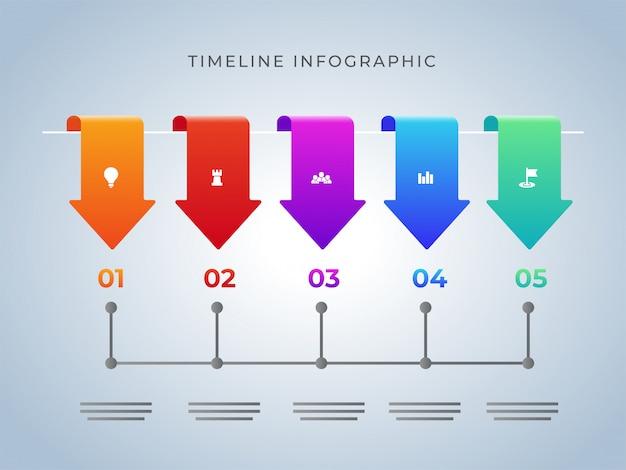 Pięć różnych kroków osi czasu infographic szablon projektu dla bu