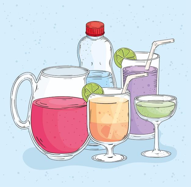 Pięć świeżych napojów rysowane styl