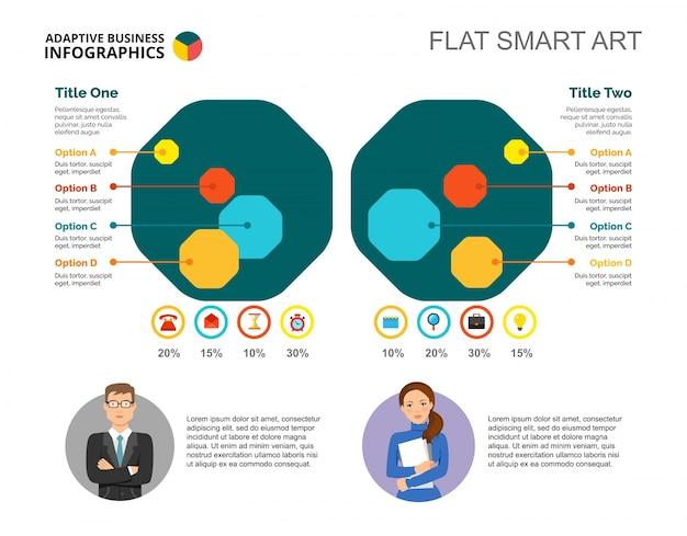 Pięć szablonów slajdów z porównaniem ośmiokątów