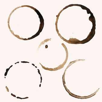 Pięć wektor plamy pierścień kawy
