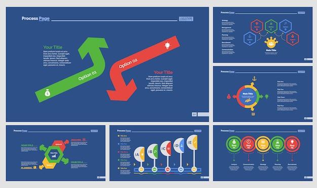 Pięć wykresów marketingowych zestaw szablonów slajdów