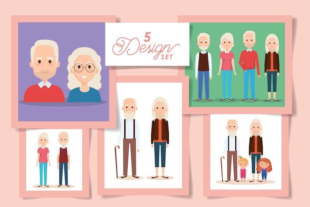 Pięć Wzorów Dziadków Z Wnukami Premium Wektorów