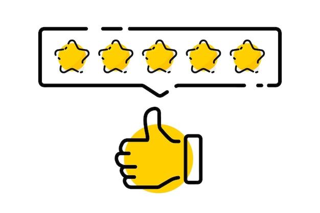 Pięć złotych gwiazdek ocena zadowolenia i pozostawienie pozytywnej recenzji reputacja opinii w internecie